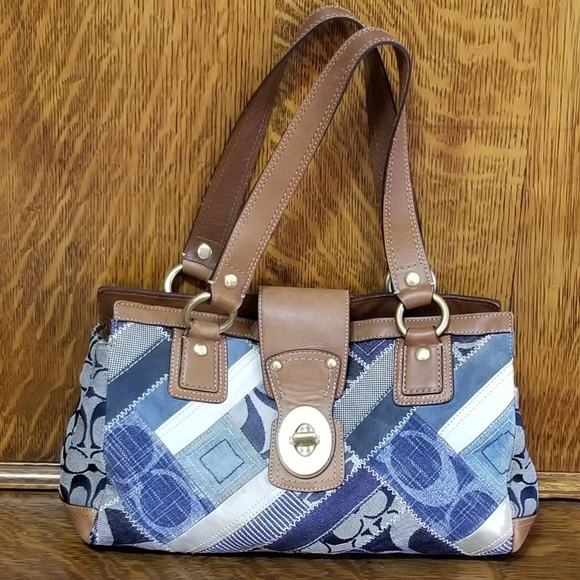 Coach Handbags - Coach Blue Denim Canvas Patchwork Bag